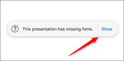 """Cliquez sur """"Montrer"""" pour obtenir plus d'informations sur les fenêtres contextuelles d'erreur dans Keynote."""