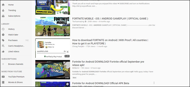 faux fortnite, youtube, fortnite, fortnite pour android,