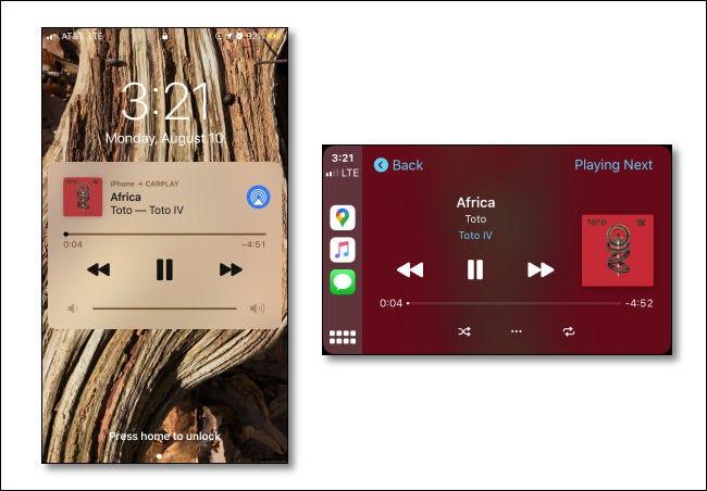 Image d'une application musicale lisant une chanson sur un iPhone à côté d'une autre image de la même chanson lue sur un écran CarPlay.