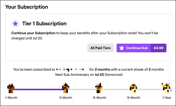 Un abonnement actif à une chaîne Twitch, affiché sur le site Web de Twitch.