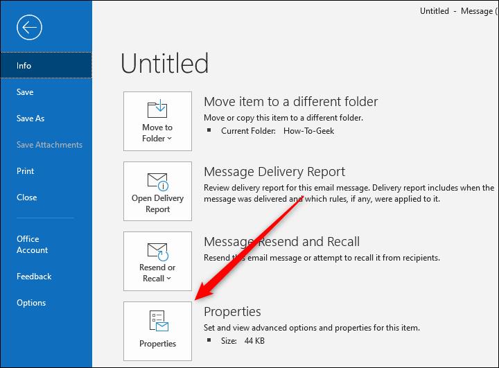 Bouton Propriétés d'Outlook pour un e-mail individuel.