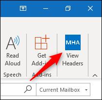 """Le """"Afficher les en-têtes"""" bouton dans le ruban Outlook."""