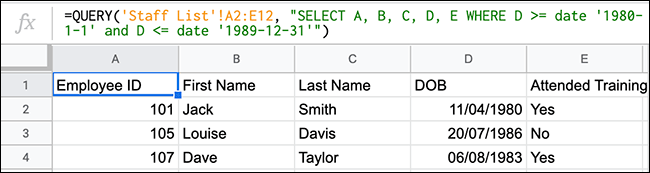 La fonction QUERY dans Google Sheets affichant une fonction QUERY utilisant des opérateurs de comparaison pour rechercher des valeurs entre deux dates.