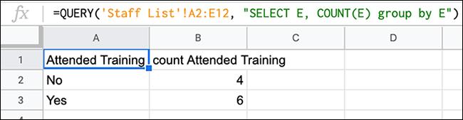 Une formule dans Google Sheets, utilisant une fonction QUERY combinée à un COUNT pour compter le nombre de mentions d'une certaine valeur dans une colonne.