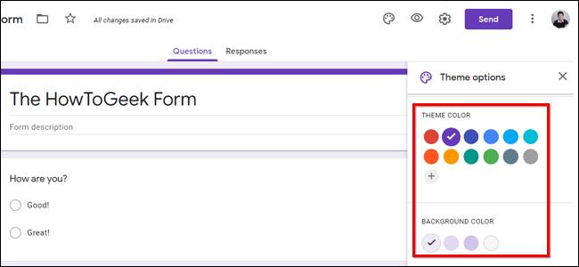 Sélectionnez la couleur d'arrière-plan Google Forms