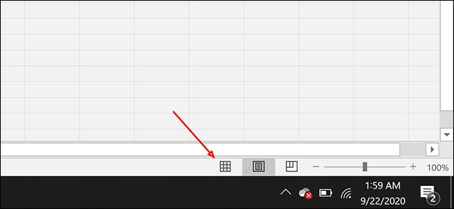 """Clique le """"Normal"""" bouton de mise en page dans Excel"""