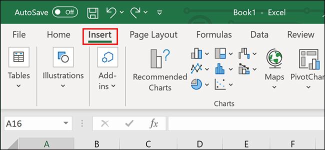 """En cliquant """"Insérer"""" sur le ruban Excel."""
