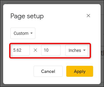 Échangez les nombres dans les champs de texte pour faire pivoter la diapositive en position verticale.
