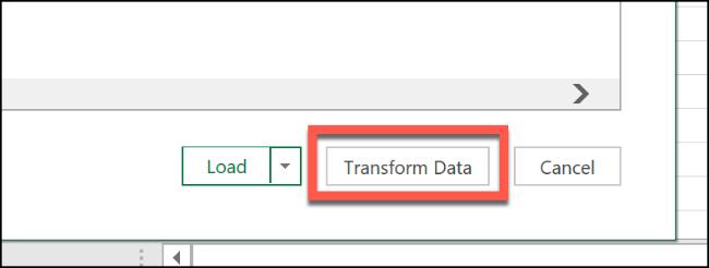"""Cliquez sur """"Transformez les données."""""""