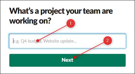 La zone de texte pour saisir le nom d'un projet et le bouton Suivant.