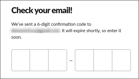 La zone de texte pour saisir votre code de confirmation à 6 chiffres.