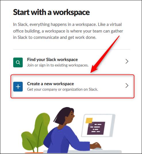 """le """"Créer un nouvel espace de travail"""" option."""