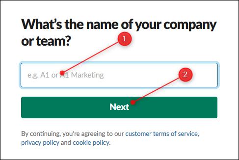 La zone de texte pour saisir le nom de votre espace de travail et le bouton Suivant.