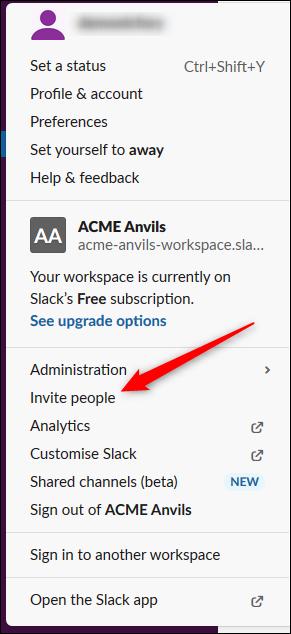 Le menu utilisateur Slack.