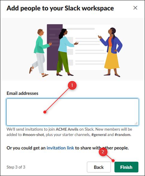 L'option permettant de saisir les adresses e-mail des personnes à inviter et le bouton Terminer.