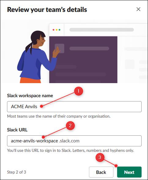 Les zones de texte pour modifier le nom et l'URL de votre espace de travail.