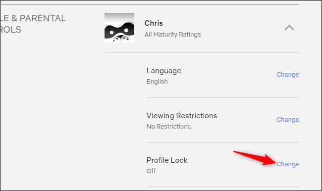 Accéder au verrouillage de profil sur le site Web de Netflix