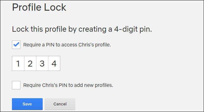 Créer un code PIN Netflix