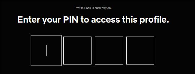 Saisie d'un code PIN pour le verrouillage du profil sur Netflix