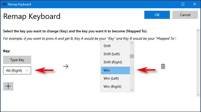Dans PowerToys, sélectionnez une touche et attribuez-la à la touche Windows dans le Gestionnaire de clavier sous Windows 10