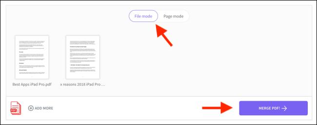 Cliquez sur Fusionner PDF à partir du mode fichier