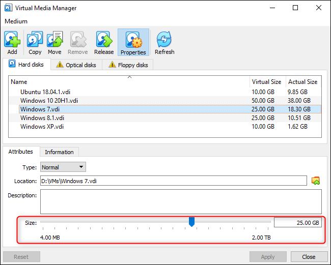 Redimensionner graphiquement un disque virtuel dans VirtualBox