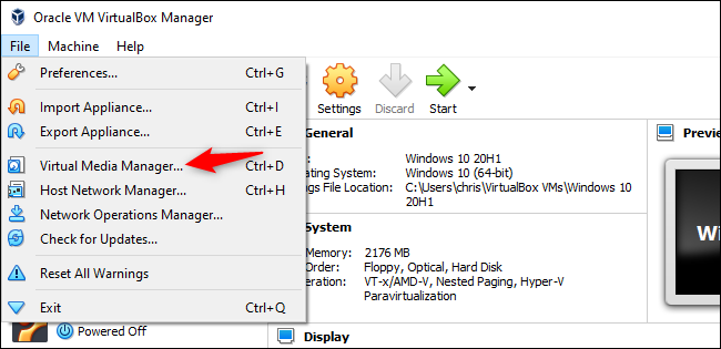 Lancement du gestionnaire de médias virtuels dans VirtualBox