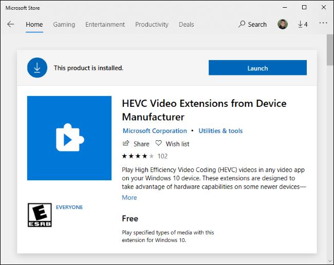Extensions vidéo HEVC gratuites sur le Microsoft Store.