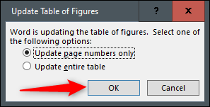 Mettre à jour uniquement les options du tableau entier ou des numéros de page