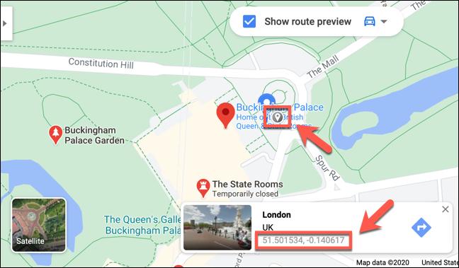 Les coordonnées de Buckingham Palace, Londres, affichées sur le site Web de Google Maps
