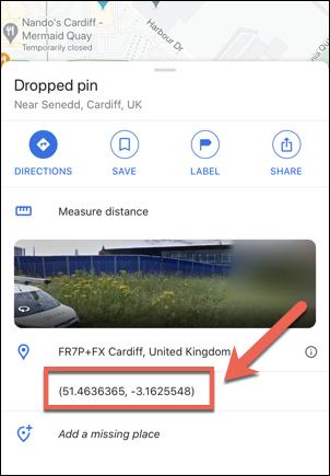 Les coordonnées du Parlement gallois, Royaume-Uni, comme indiqué dans l'application Google Maps sur iPhone.
