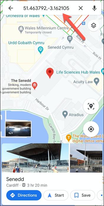 Les coordonnées GPS du Parlement gallois, Royaume-Uni dans l'application Google Maps sur Android.