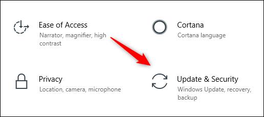 Icône de mise à jour et de sécurité dans le menu Paramètres de Windows 10