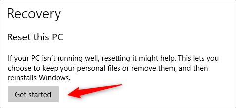 Commencez à réinitialiser Windows 10
