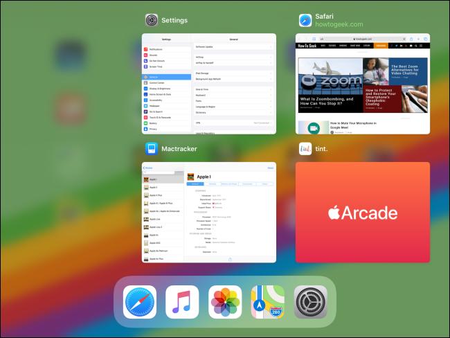 Vignettes d'applications dans le sélecteur d'applications sur iPad.