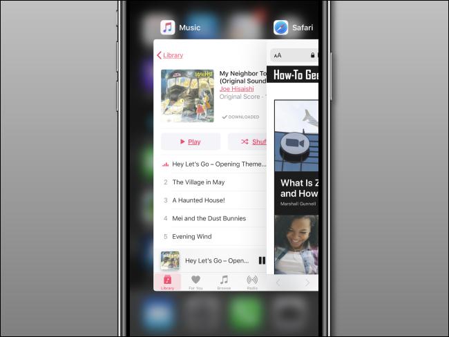 App Switcher sur iPhone après la fermeture de l'application