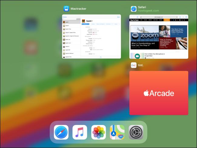 Le sélecteur d'applications sur un iPad après la fermeture d'une application.