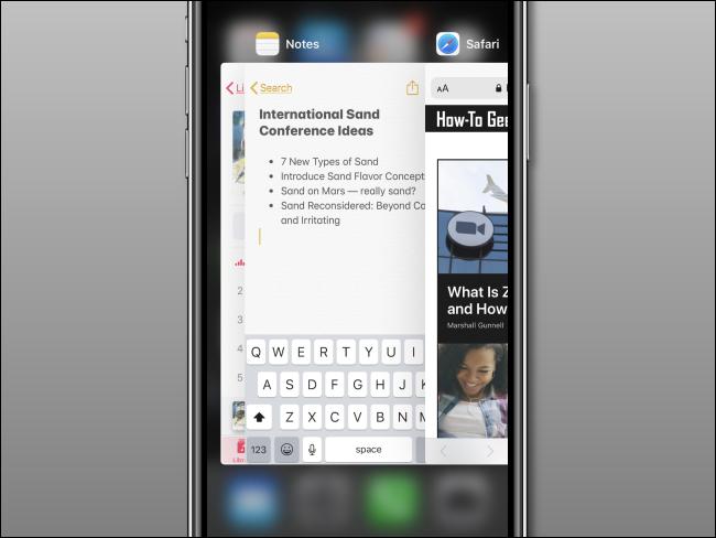 Un sélecteur d'application ouvert sur un iPhone.
