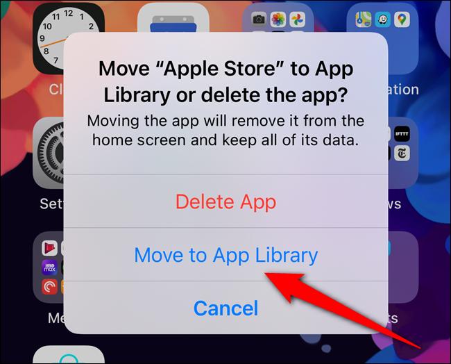 """Sélectionnez le """"Déplacer vers la bibliothèque d'applications"""" bouton"""