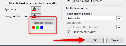 sélectionner la couleur - appuyez sur ok