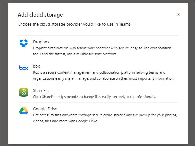 Les équipes ajoutent le menu Cloud Storage