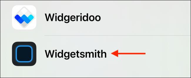 Sélectionnez Widgetsmith