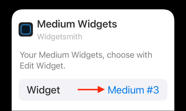 Appuyez sur l'option Widget