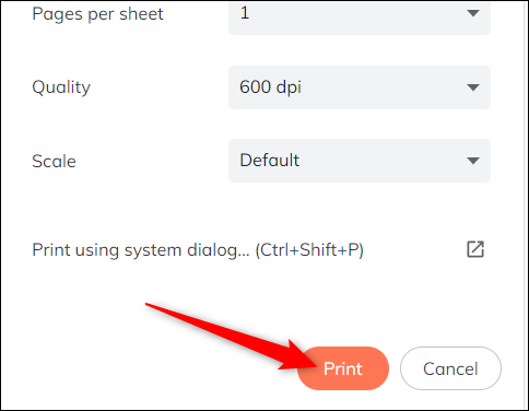 """Enfin, cliquez sur """"Imprimer"""" pour envoyer le travail à votre imprimante."""
