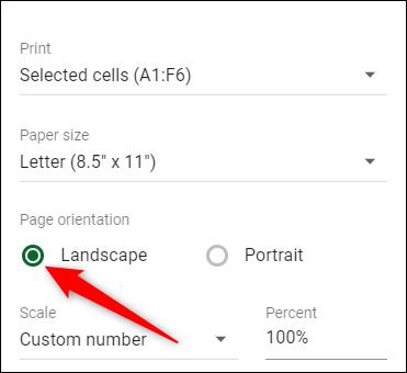 """Cliquer sur """"Paysage"""" pour changer l'orientation de la page."""