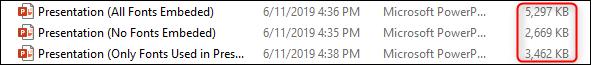 différence de taille de fichier avec les polices intégrées