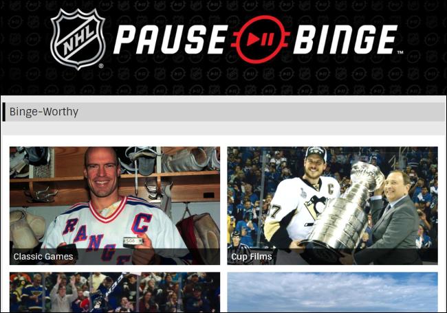Le site Web de la LNH Pause Binge.