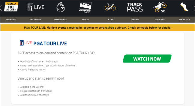 Le site Web NBC Sports Gold Free Access.