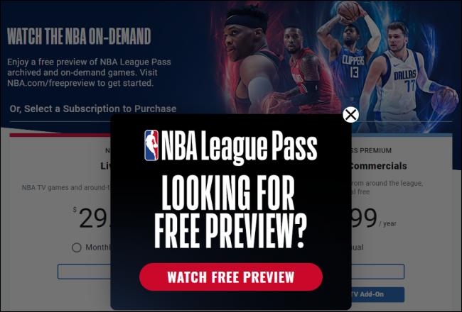 La page de prévisualisation gratuite du NBA League Pass.