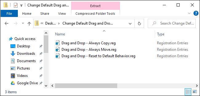 Faites glisser et déposez les hacks de registre pour Windows 10